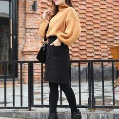 潞依韩 - 毛呢铅笔裙