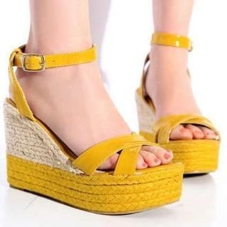 Pangmama - Patent Wedge Sandals