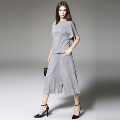 Y:Q - Set: Short-Sleeved Top + Dress Pants
