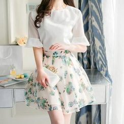 Fashion Street - Set: Chiffon Blouse + Pleated Print Skirt