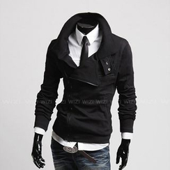 WIZIKOREA - Side Zip Tab Collar Jacket