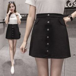 Sienne - Buttoned A-line Skirt