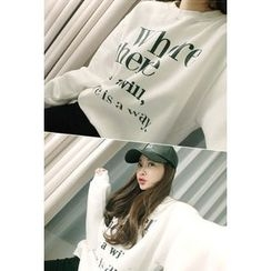 ATTYSTORY - Brushed Fleece Lined Lettering Sweatshirt