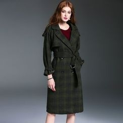 Queen Mulock - Wool Blend Double-Breasted Plaid Coat