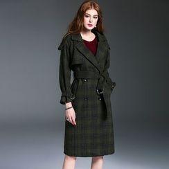 洛圖 - 羊毛混紡雙排扣格紋外套