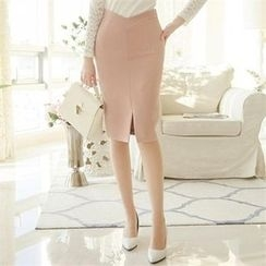 ode' - V-Waist Slit-Front Pencil Skirt