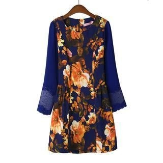 JVL - Long-Sleeve Floral A-Line Dress