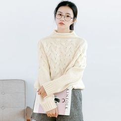 Forest Girl - Mock Neck Cable Knit Sweater