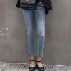 NANING9 - Cutout Skinny Jeans