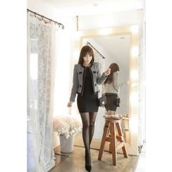 MyFiona - Faux-Pearl Button Tweed Jacket