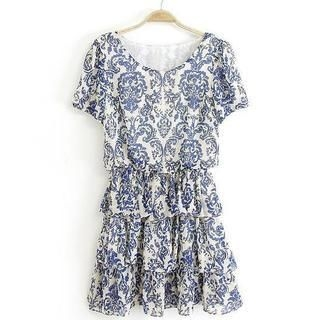 JVL - Short-Sleeve Layered Porcelain Printed Dress