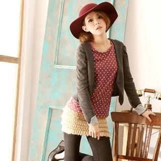 YUMI - Long-Sleeve Dotted Knit Top