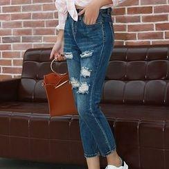 Denimot - Distressed Washed Slim Fit Jeans