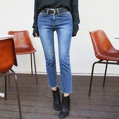 DABAGIRL - Fray-Hem Washed Straight-Cut Jeans