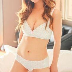 Aloysia - Set: Heart Print Bra + Panties