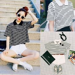 Tiny Times - Striped Cropped Short Sleeve Polo T-Shirt