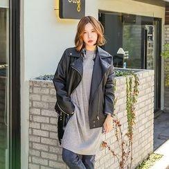 Seoul Fashion - Diagonal-Zip Faux-Leather Jacket