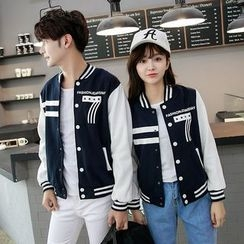 TOOI - Couple Matching Contrast Number Baseball Jacket