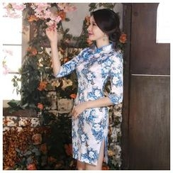 Janelle Qipao - 3/4-Sleeve Blue and White Qipao
