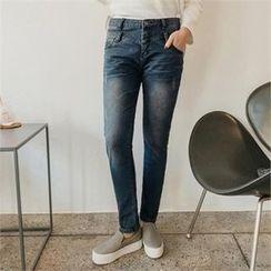 JOAMOM - Washed Straight-Cut Jeans