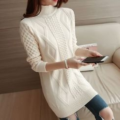 Cotton Candy - 長袖麻花針織連衣裙