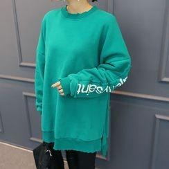DANI LOVE - Lettering-Sleeve Dip-Back Sweatshirt