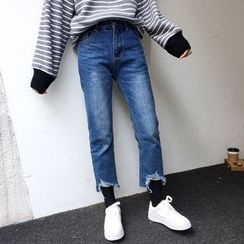 Windflower - Cropped Straight-Leg Jeans