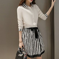 Romantica - Set: Cropped Blouse + Striped Skirt