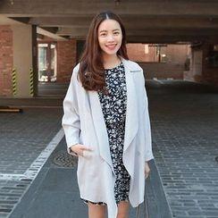 Seoul Fashion - Shawl-Collar Trench Jacket