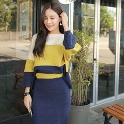 Cherryville - Set: Color-Block Knit Top + Pencil Skirt