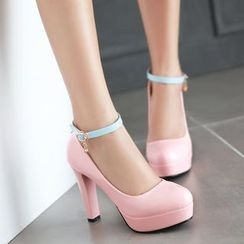 Pretty in Boots - Ankle Strap Platform Pumps