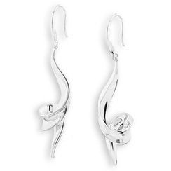Bling Bling - Bling Bling Platinum Plated 925 Silver Ribbon Swiling Dangle Earrings