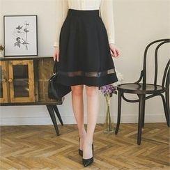 ode' - Mesh-Trim A-Line Skirt