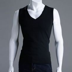 Seoul Homme - V-Neck Sleeveless Cotton Top