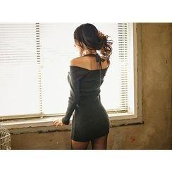 UUZONE - Off-Shoulder Rib-Knit Dress
