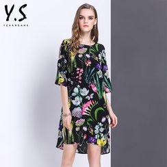 Y:Q - Floral Print Elbow-Sleeve Shift Dress