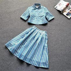 Eva Fashion - Set: Striped Blouse + A-Line Skirt