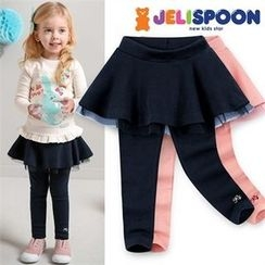 JELISPOON - Girls Inset Mini Skirt Leggings