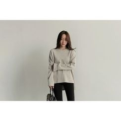 UPTOWNHOLIC - Round-Neck Slit-Side Pullover