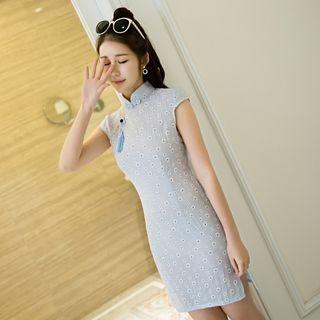 Janelle Qipao - Short-Sleeve Floral Cheongsam