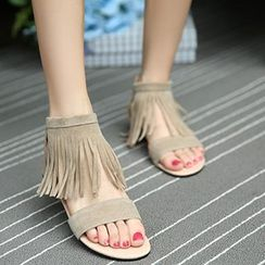 Sidewalk - Fringed Ankle Strap Sandals