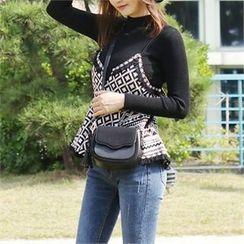 Picapica - Tasseled Faux-Suede Flap Shoulder Bag