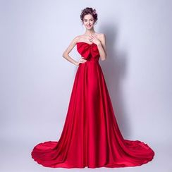 Angel Bridal - Strapless Bow-Accent Evening Gown