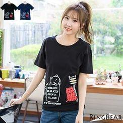 RingBear - 活泼俏皮休閒可爱猫咪咖啡杯印图点点猫站牌贴布T恤