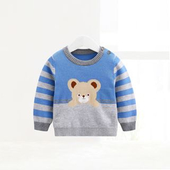 ciciibear - Kids Bear Stripe Knit Top