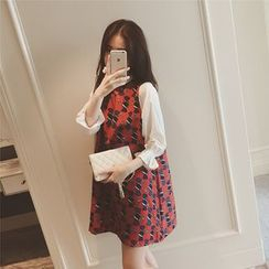 Ceres - Maternity Print Mandarin Collar Dress