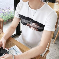 T for TOP - Rose Print Short-Sleeve T-Shirt