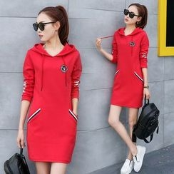 Ekim - Long-Sleeve Hooded Pullover Dress