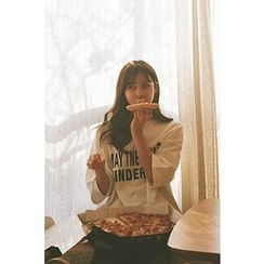 CHERRYKOKO - Lettering Elbow-Sleeve Dip-Back T-Shirt