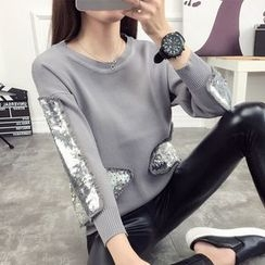 anzoveve - Sequined Panel Sweater